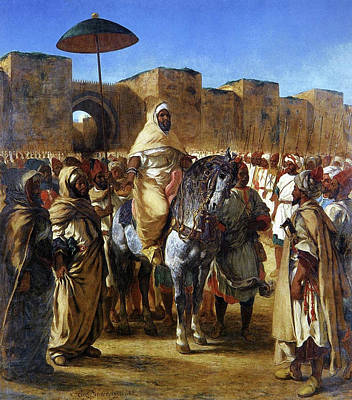 Horseback Painting - The Sultan Of Morocco by Eugene Delacroix