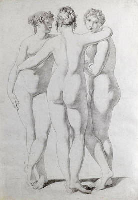 Drawing - The Three Graces by Jean-Baptiste Regnault