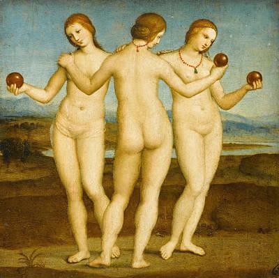 Greek Painting - The Three Graces by Raffaello Sanzio