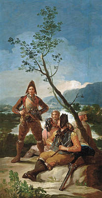Hunt Painting - The Tobacco Guards by Francisco Goya
