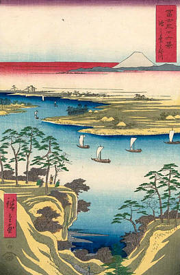 Asian Painting - The Tone River At Konodai by Utagawa Hiroshige