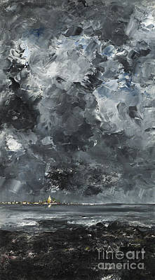 Abstract Night Sky Painting - The Town by August Johan Strindberg