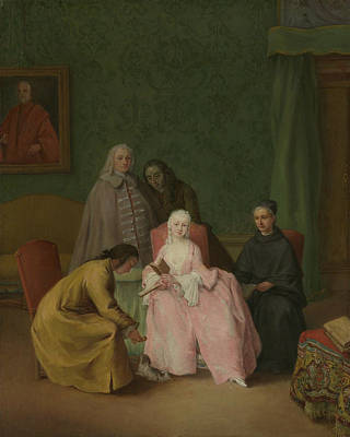 Pietro Longhi Painting - The Visit by Pietro Longhi