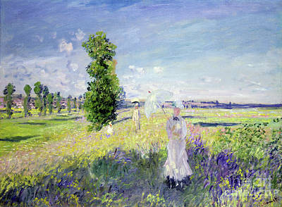 Parasol Painting - The Walk by Claude Monet