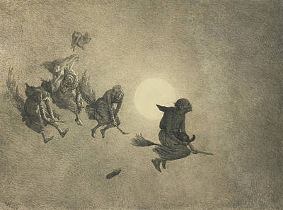 Magician Drawing - The Witches' Ride by William Holbrook Beard