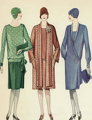 Three Flappers Modelling French Designer Outfits, 1928 Print by American School
