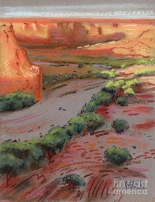 Three Horses In The Arroyo Print by Donald Maier