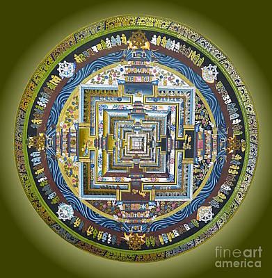 Tibetan Buddhism Painting - Tibetan Mandala Green by Birgit Moldenhauer