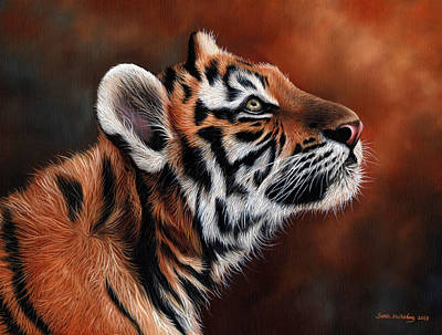 African Big Cats Drawing - Tiger Cub by Sarah Stribbling