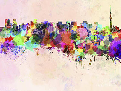 Tokyo Skyline In Watercolor Background Print by Pablo Romero