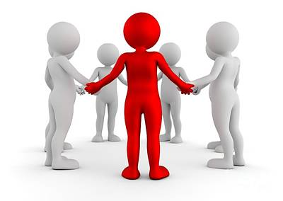 Men Photograph - Toon Men Holding Hands In A Circle. Support Group, Teamwork, Business Leader Concept by Michal Bednarek