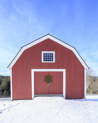 Traditional New England Red Barn In Winter Print by Edward Fielding