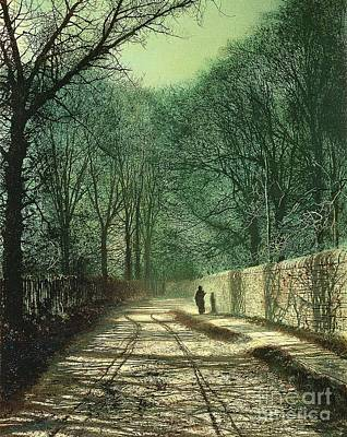 Fog Painting - Tree Shadows In The Park Wall by John Atkinson Grimshaw