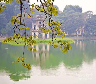 Hanoi Photograph - Tree With View Of Hoan Kiem Lake, Hanoi, Vietnam, Asia by David Buffington