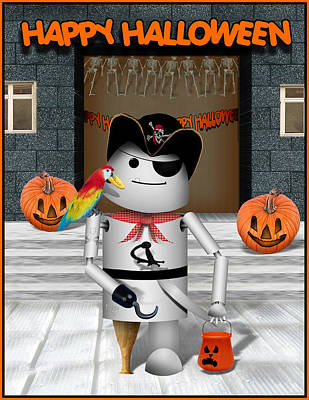 Robo-x9 Mixed Media - Trick Or Treat Time For Robo-x9 by Gravityx Designs