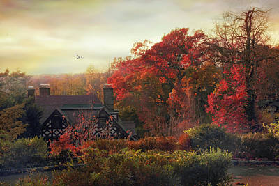 Mansion Digital Art - Tudor In Autumn by Jessica Jenney