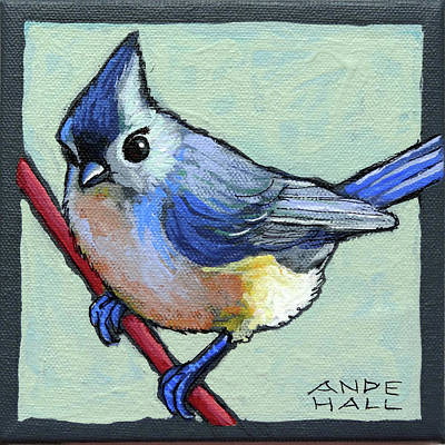 Titmouse Painting - Tufted Titmouse Two by Ande Hall