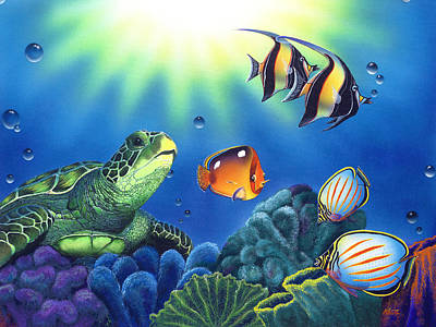 Tropical Fish Painting - Turtle Dreams by Angie Hamlin