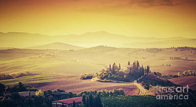Wine Photograph - Tuscany, Italy Landscape. Super High Quality Panorama Taken At Wonderful Sunrise. by Michal Bednarek