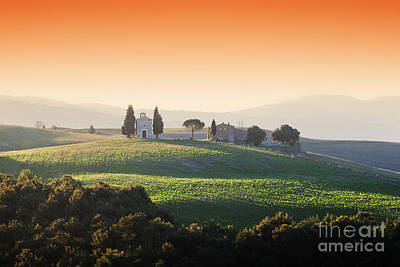 Red Photograph - Tuscany Landscape At Sunrise With A Little Chapel Of Madonna Di Vitaleta, Italy by Michal Bednarek