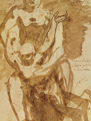 Ink Wash Drawing Drawing - Two Figures by Auguste Rodin