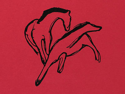 Blue And Red Drawing - Two Horses by Franz Marc