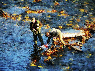 Nature Photograph - Two Men Fishing by Susan Savad