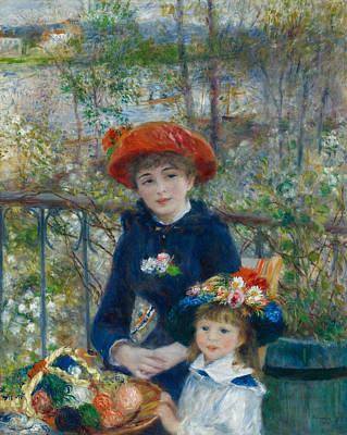 Sisters Painting - Two Sisters On The Terrace by Auguste Renoir