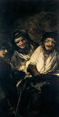 Romanticist Painting - Two Women And A Man by Francisco Goya
