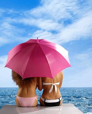 Two Women Relaxing On A Shore Print by Oleksiy Maksymenko