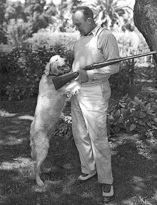 Cobb Photograph - Ty Cobb With His Dog by Underwood Archives