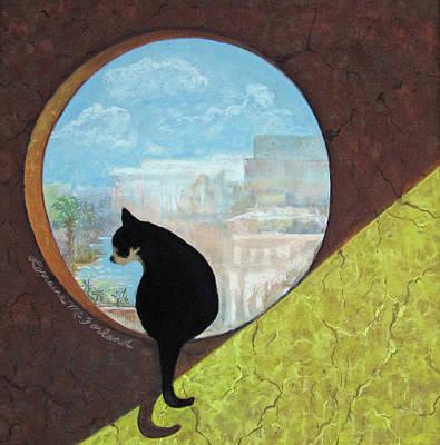 Un Gato De La Isla Mujeres - Pastel Print by Lorraine McFarland