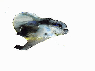 Otter Drawing - Underwater by Mark Adlington