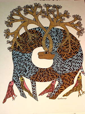 Gond Painting - Untitled by Dilip Shyam