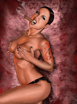 Lingerie Digital Art - Up In Smoke by Pete Tapang