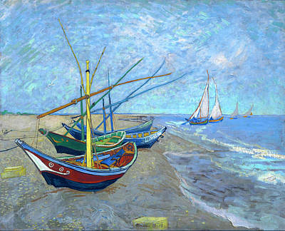 Spiritual Teacher Painting - Van Gogh Fishing Boats Saintes Maries by Vincent van Gogh