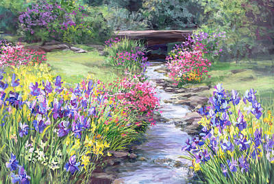 Vandusen Garden Iris Bridge Original by Laurie Hein