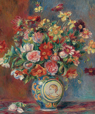 Ceramics Painting - Vase With Flowers by Pierre Auguste Renoir