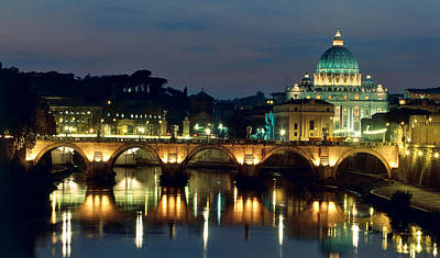 Vatican Skyline  View Of St Peters Basilica In The Evening Print by Italian School