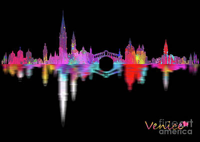 Skylines Digital Art - Venice Skyline  Italy -night by Prar Kulasekara
