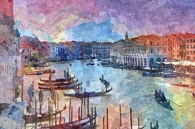 Canal Painting - Venice , Italy by Nikolay Ivanov