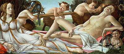 Deity Painting - Venus And Mars by Sandro Botticelli