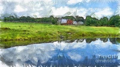 Drawing - Vermont Farm Landscape Pencil by Edward Fielding