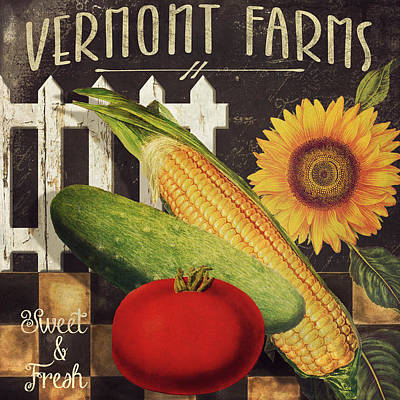 Healthy Eating Painting - Vermont Farms Vegetables by Mindy Sommers