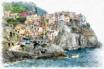 Old Town Digital Art - Manarola Italy In The Cinque Terra by Edward Fielding