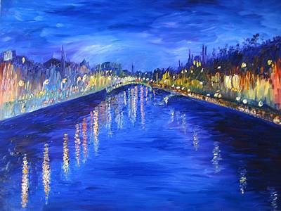 Lansdcape Painting - View From O'connell Bridge by Niamh Slack