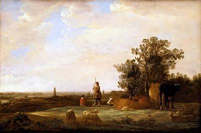 Dutch Shepherd Painting - View On A Plain by Aelbert Cuyp