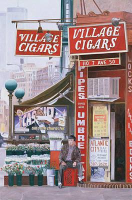 Urban Subway Painting - Village Cigars by Anthony Butera