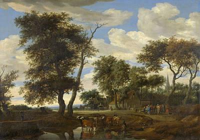 Scenery Painting - Village Scene by Salomon van Ruysdael