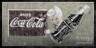 Aged Patina Photograph - Vintage 1916 Hand Painted Coca Cola Sign by John Stephens